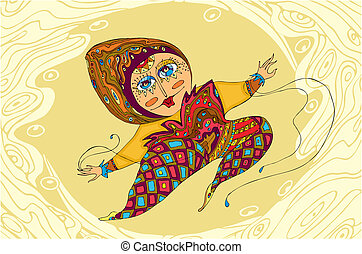 Girl Jump Ornamental - The stylised woman in a jump