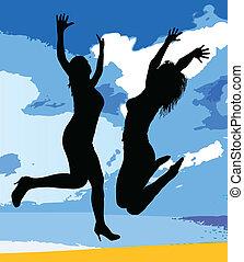girl jumping black silhouette