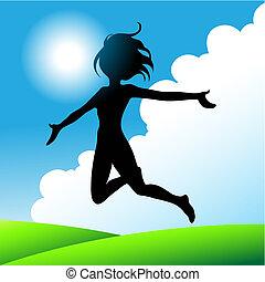 girl jumping under the sunny blue sky, vector illustration