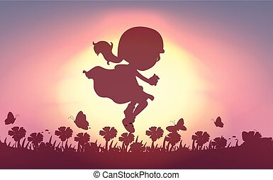 Girl jumping in the garden