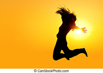 Girl Jumping in the Sun Silhouette