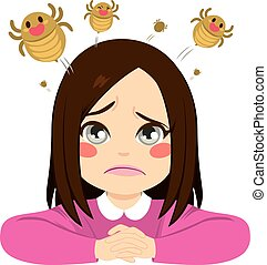 Girl Jumping Lice - Cute little sad girl with lice jumping...