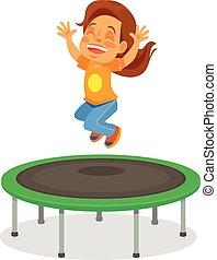Girl jumping on trampoline. Vector flat cartoon illustration