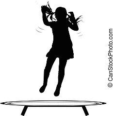 Girl jumping trampoline