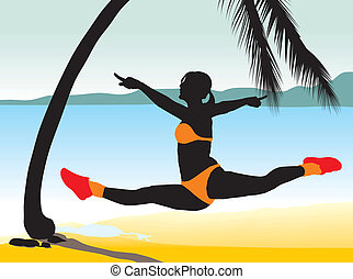 Girl jumping with beach Background