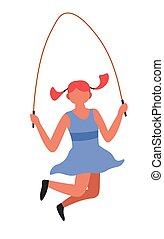 Girl jumping with skipping rope child playing game