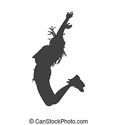 Girl jumps happily silhouette
