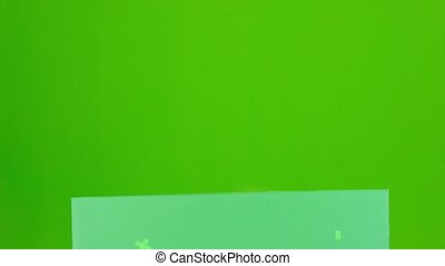 Girl jumps out of the green board and winking. Green screen
