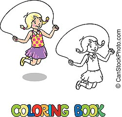 Girl jumps with rope . Coloring book