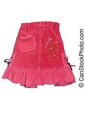 girl, jupe, mini, isolé, enfants, rouges