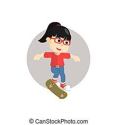 Girl kickflip with skateboard