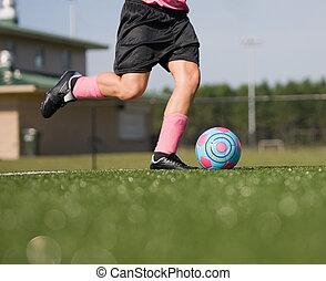 Girl Kicking Soccer Ball - Girl Running and Kicking Soccer...