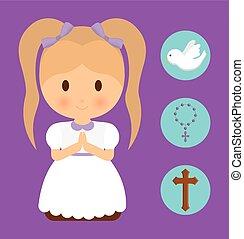 girl kid cartoon dove cross rosary icon. Vector graphic