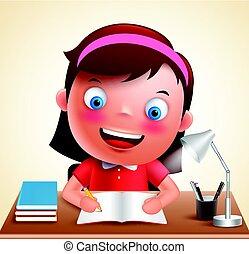 Girl kid vector character happy studying in desk doing school homework