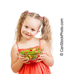 girl kid with healthy food vegetables