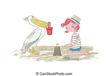 Girl kid with red hair playing on the beach with sand, sandcastle and pelican - Vector illustration hand drawn with pencil texture isolated on white background