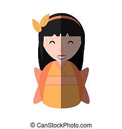 girl, kimono, ombre, diadème, geisha