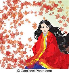 girl, kimono