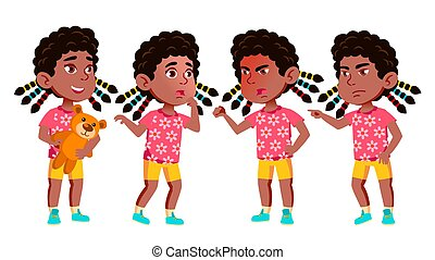 Girl Kindergarten Kid Poses Set Vector. Black. Afro American. Friendly Little Children. Cute, Comic. For Web, Brochure, Poster Design. Isolated Cartoon Illustration