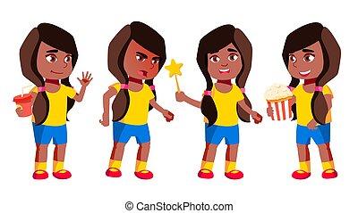 Girl Kindergarten Kid Poses Set Vector. Black. Afro American...