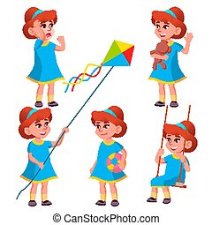 Girl Kindergarten Kid Poses Set Vector. Character Playing. Childish. Casual Clothe. For Presentation, Print, Invitation Design. Isolated Cartoon Illustration