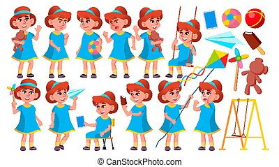 Girl Kindergarten Kid Poses Set Vector. Happy Children Character. Babysitting. For Advertisement, Greeting, Announcement Design. Isolated Cartoon Illustration