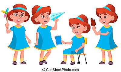 Girl Kindergarten Kid Poses Set Vector. Little Children. Happiness Enjoyment. For Web, Brochure, Poster Design. Isolated Cartoon Illustration