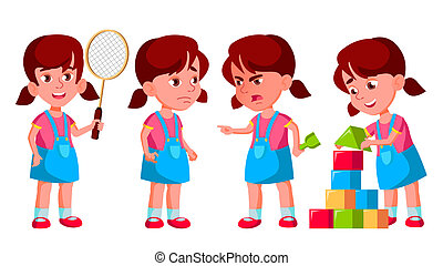 Girl Kindergarten Kid Poses Set Vector. Preschooler Playing. Friendship. For Web, Poster, Booklet Design. Isolated Cartoon Illustration