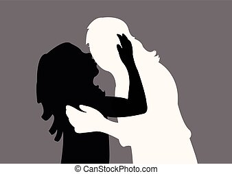 girl kissing the mother, silhouette vector