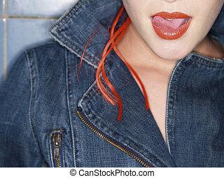 girl, lèvre, lécher, elle