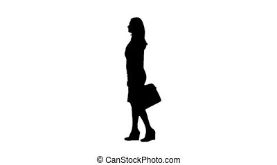 Girl l walk with a briefcase in hand . Side view. White...