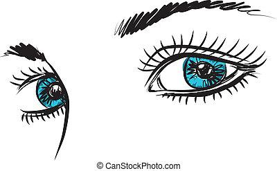 girl lady woman blue eyes illustration