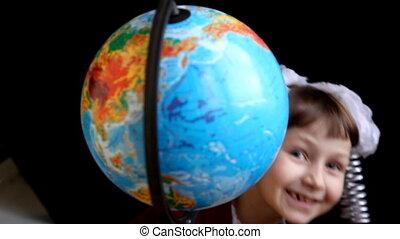 Girl land globe