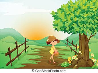 girl, landcape
