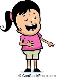 Girl Laughing - A happy cartoon girl laughing and smiling.