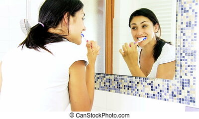 girl, lavage, salle bains, dents