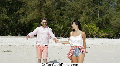 Girl Lead Man On Beach Holding Hand, Couple In Love Happy...