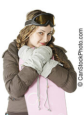 Girl leaning on snowboard