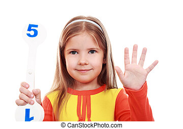Girl learning to count  - Training to the account