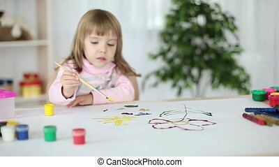 Girl learns to paint with gouache - Childhood