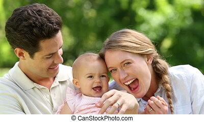 girl, leur, bébé, heureux, parents