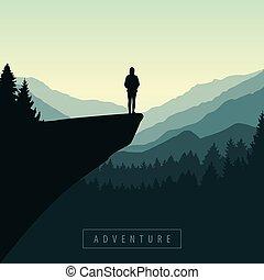 girl, levers de soleil, falaise, randonnée, affichage montagne, aventure