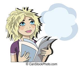 girl lezen, blonde