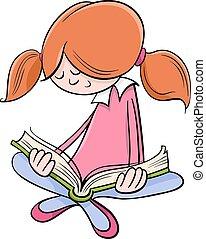 girl lezen, boek, spotprent