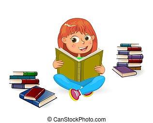 girl lezen, boek, vrolijke