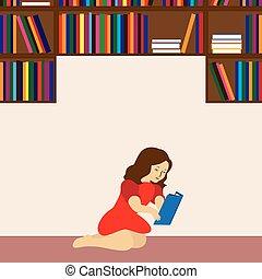 girl lezen, book.