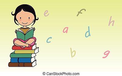 girl lezen, brieven, achtergrond, book.