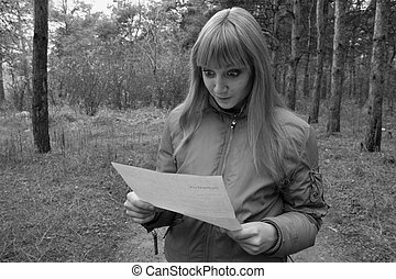girl lezen, een, brief