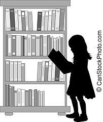 girl lezen, silhouette, book.