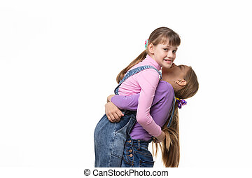 Girl lifted and hugged another a girl